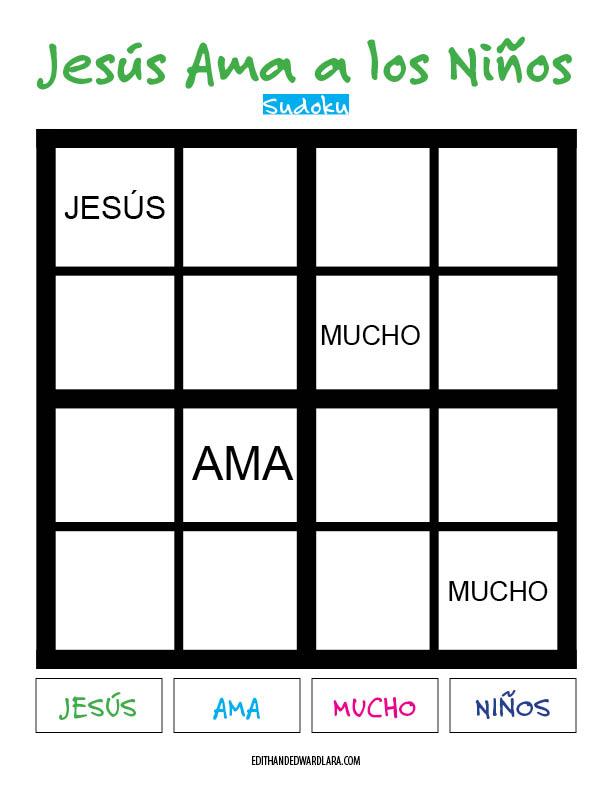Jesús Ama a los Niños - Sudoku. Tamaño 4x4. Fácil.