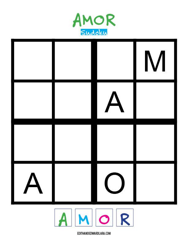 Amor - Sudoku Tamaño 4x4 - Super Fácil
