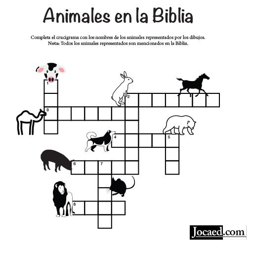 Juego Bíblico Para Niños: Crucigrama  — Animales en la Biblia