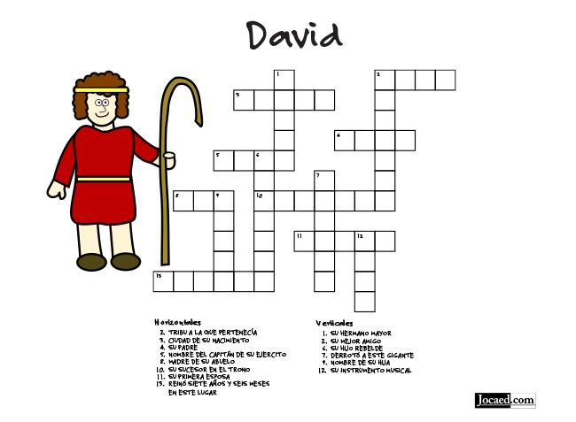 Juego Bíblico Para Niños: Crucigrama — David