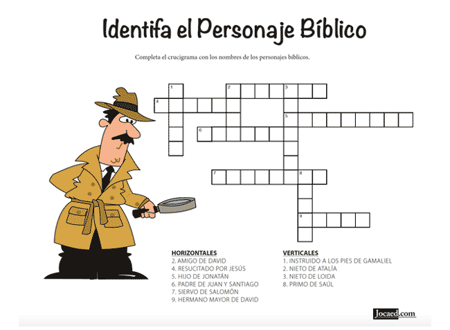 Juego Bíblico Para Niños: Crucigrama — Identifica el Pesonaje