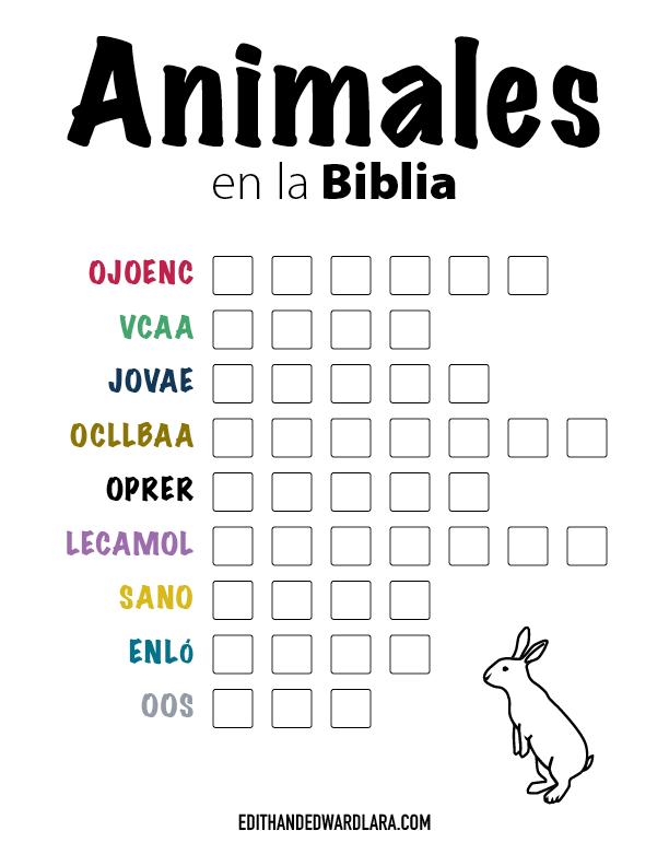 Juego Bíblico Para Niños:  Letras Revueltas — Animales en la Biblia