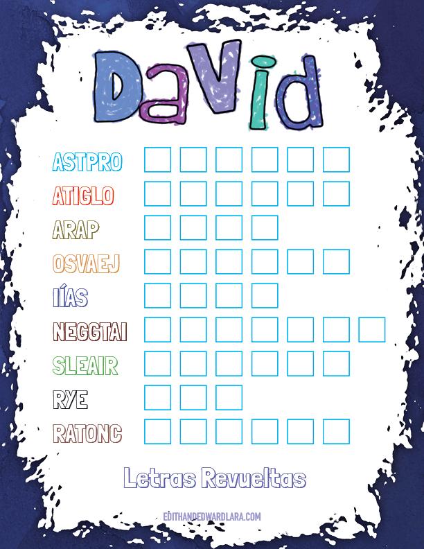 Juego Bíblico Para Niños: Letras Revueltas — David