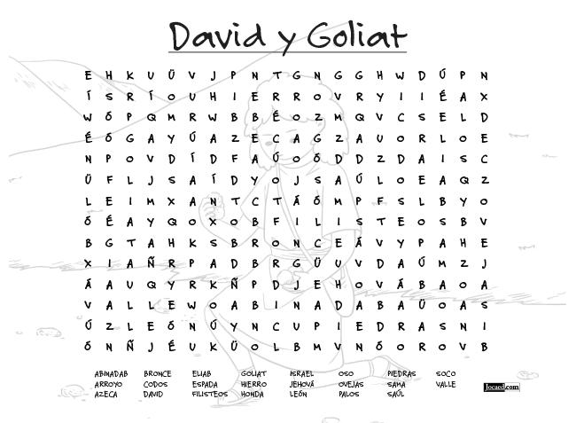 Juego Bíblico Para Niños: Sopa de Letras — David y Goliat