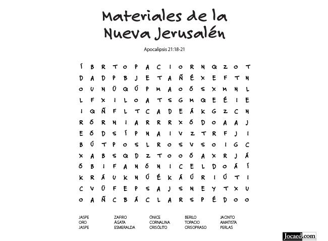 Juego Bíblico Para Niños: Sopa de Letras: Materiales de la Nueva Jerusalén