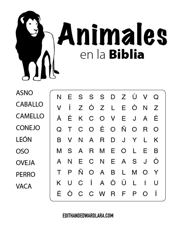 Juego Bíblico Para Niños: Sopa de Letras - Animales en la Biblia