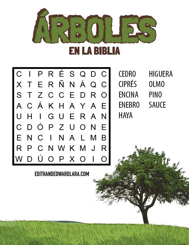 Sopa de Letras - Árboles en la Biblia