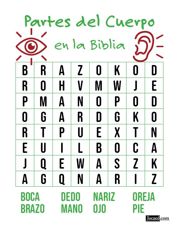 Juego Bíblico Para Niños: Sopa de Letras — Partes del Cuerpo en la Biblia